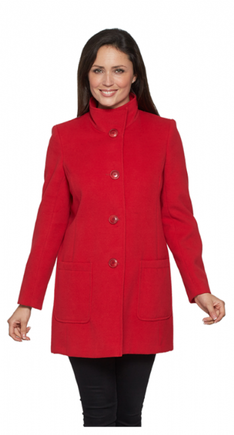 K127W Womens Short Faux Cashmere Red Coat